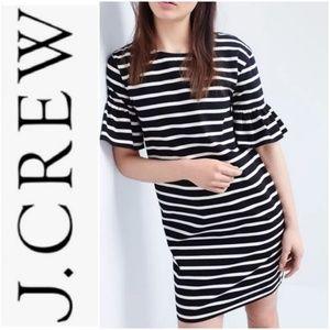 J. Crew Ruffled Sleeve B&W Striped Cotton Dress